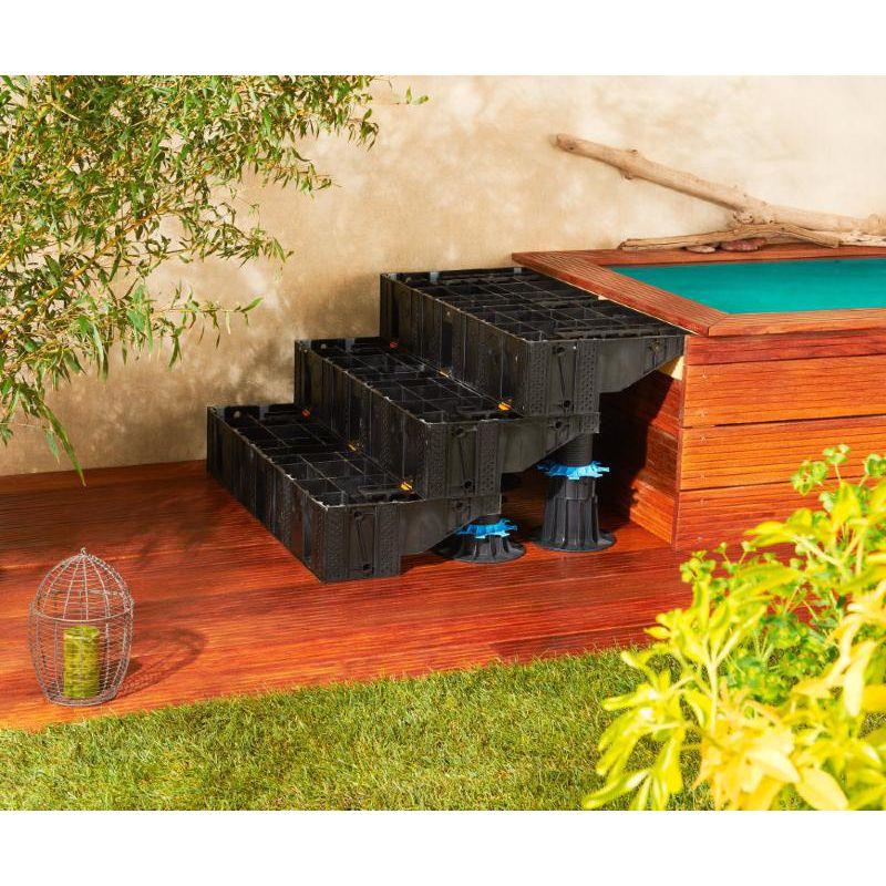Escalier modulesca bois ou dalle 100 cm modulesca plots for Fabriquer escalier bois exterieur