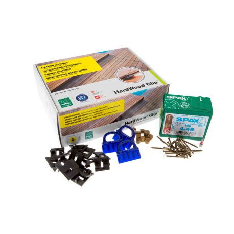Kit de fixation clips + vis inox terrasse bois - Gamme PRO - Hardwood