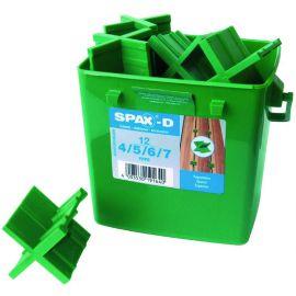 Boite de 12 espaceurs pour lame de terrasse en 4, 5, 6 et 7 mm d'écartement SPAX