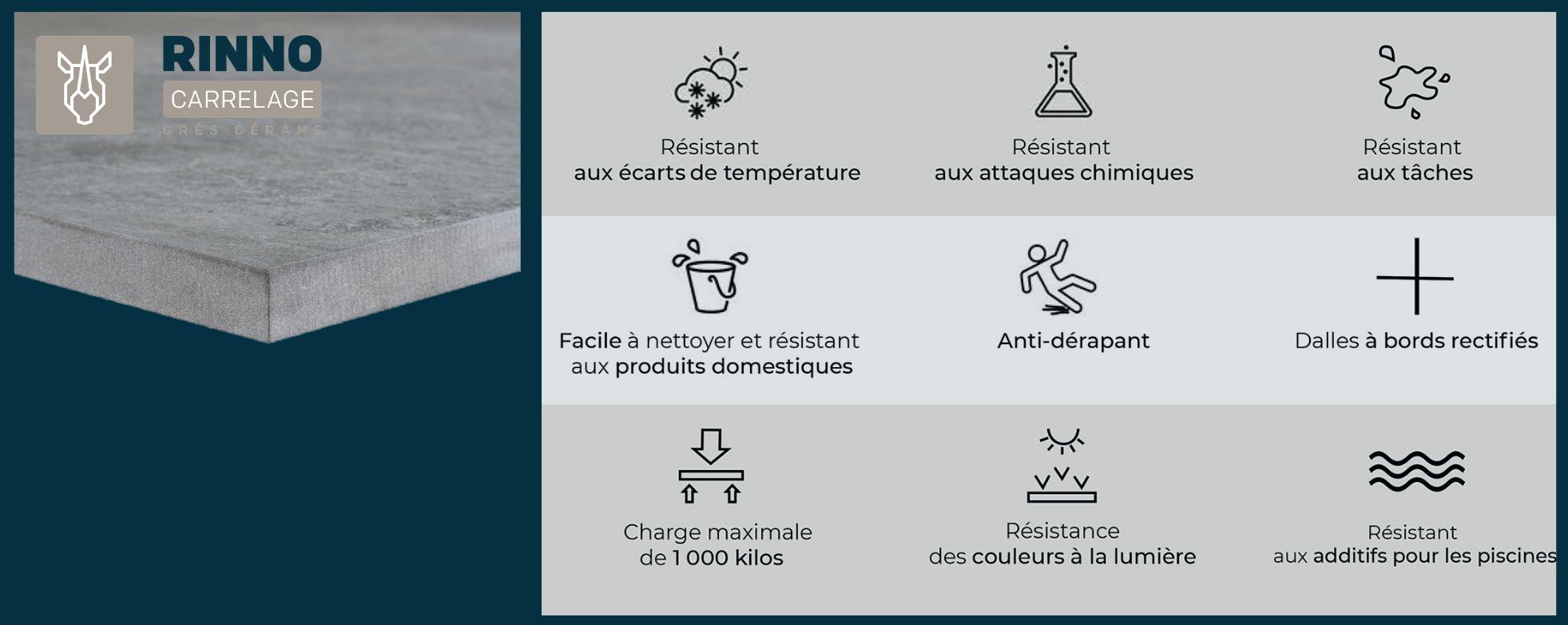 Dalle Ardoise 100 X 30 carrelage sol exterieur pour terrasse - gris ardoise 1 dalle